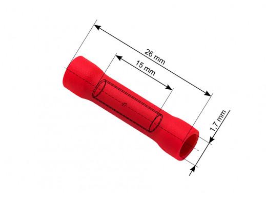 Konektor łącznik rurkowy 2,4/26mm izolowany czerwony