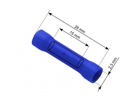 Konektor łącznik rurkowy 2,3/26mm izolowany niebieski