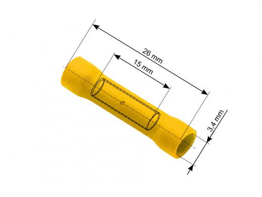 Konektor łącznik rurkowy 3,4/26mm izolowany żółty