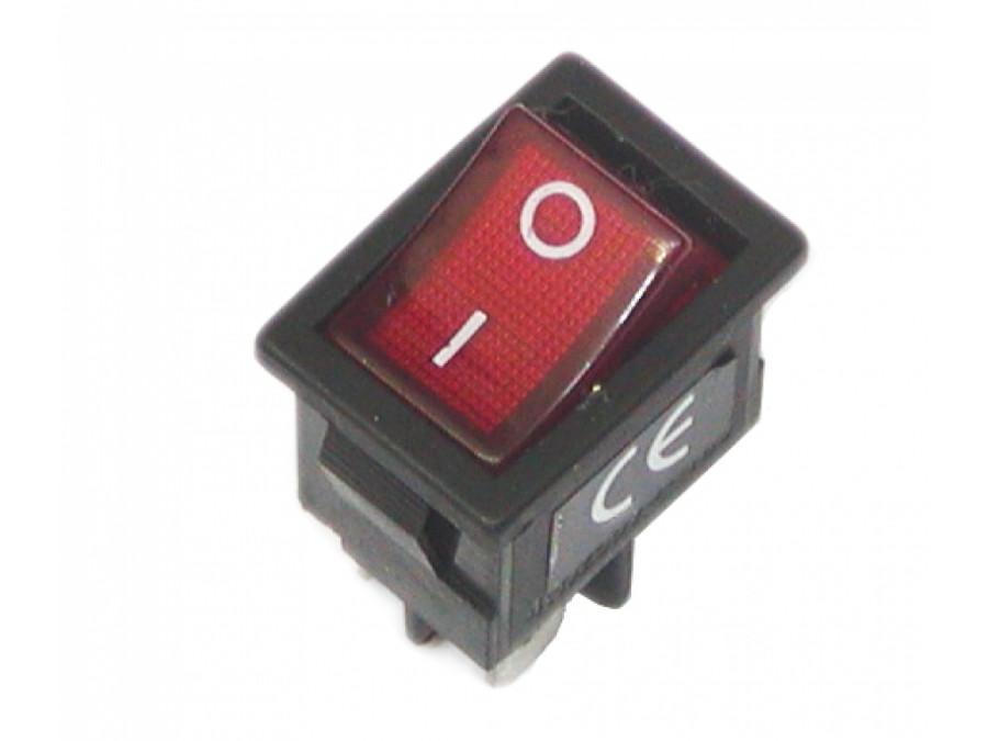 Przełącznik klawiszowy podświetlany 2poz 4pin 220V czerwony MK-1011 R15-4ALP ON-OFF