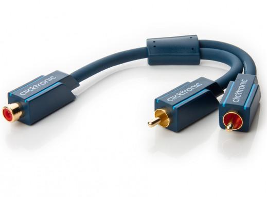Adapter gniazdo RCA-wtyki 2xRCA Clicktronic 0,1m