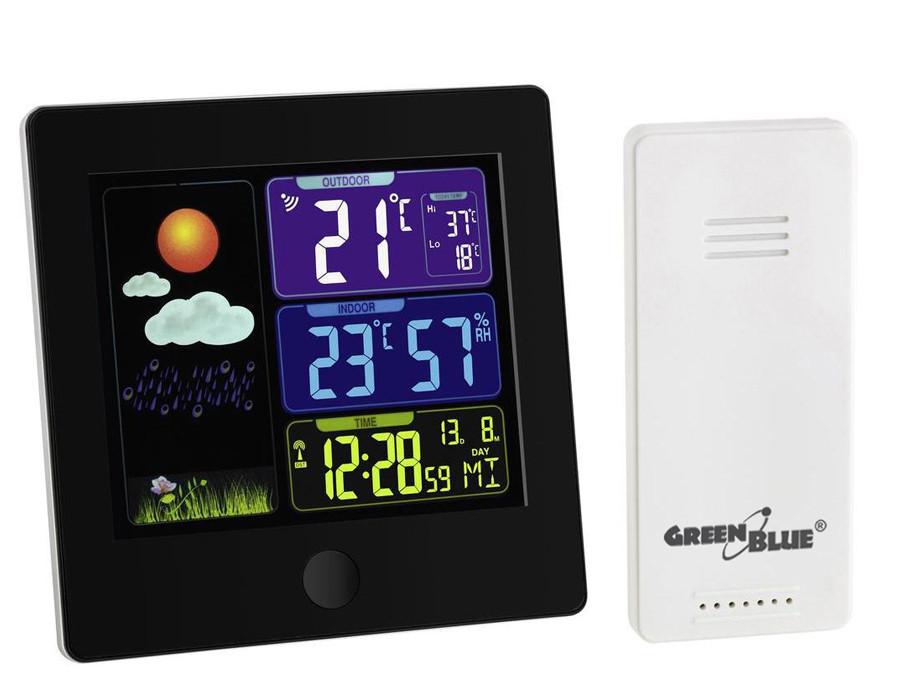 Stacja pogody bezprzewodowa z systemem DCF GreenBlue GB521B black