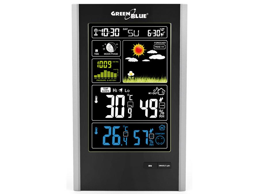Stacja pogody bezprzewodowa DCF, ciśnienie, fazy księżyca,ładowarka USB GreenBlue GB520 black