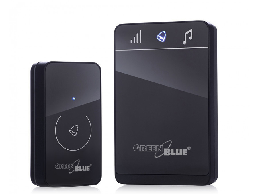 Dzwonek bezprzewodowy nadajnik-odbiornik, 52 melodie czarny GreenBlue GB111 B dotykowy, zasięg 150m