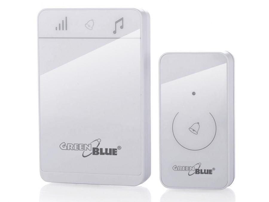 Dzwonek bezprzewodowy nadajnik-odbiornik, 52 melodie biały GreenBlue GB111 W dotykowy, zasięg 150m