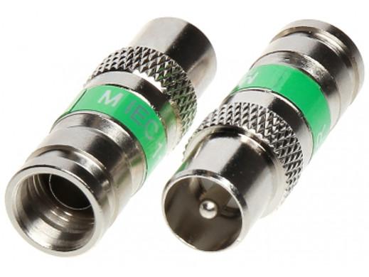Wtyk TV Triset-113 IEC kompresyjny zielony