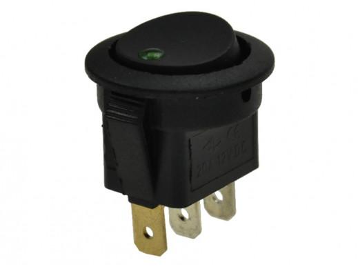 Przełącznik klawiszowy 2 pozycje 3 pin 12V 20A podświetlany LED kropka zielony IRS101E-8 okrągły