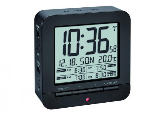 Cyfrowy budzik DCF z termometrem TFA 60.2536 czarn