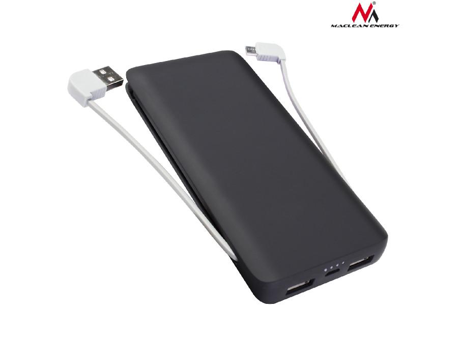 Powerbank 8000mAh Maclean czarny MCE140 B wbudowane kable, 3 USB max 2,4A