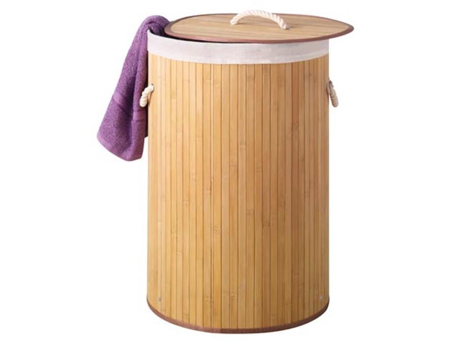 Bambusowy kosz na pranie Perel okrągły naturalny