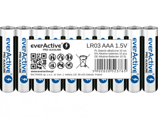 10x baterie R-03 LR3 AAA alkaliczne EverActive Pro