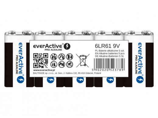 5x baterie alkaliczne everActive Pro 9V