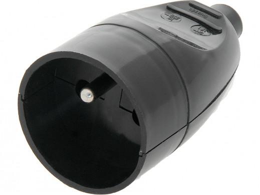 Gniazdo prądowe z uziemieniem GN-171 czarne na kabel