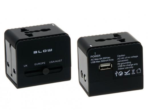 Wtyk sieciowy uniwersalny z USB Blow Europe