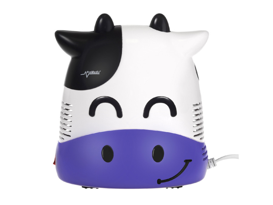 Inhalator dla dzieci Promedix PR-810 krówka, zestaw nebulizator, maski, filterki