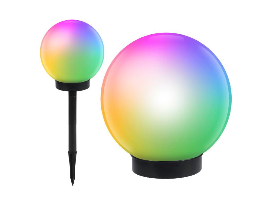 Solarna lampa wolnostojąca ogrodowa - kula 20x20x53cm, kolorowy LED GB124