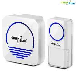 Dzwonek bezprzewodowy nadajnik-odbiornik, 52 melodie biały GreenBlue GB120 W dotykowy, zasięg 300m, 230V