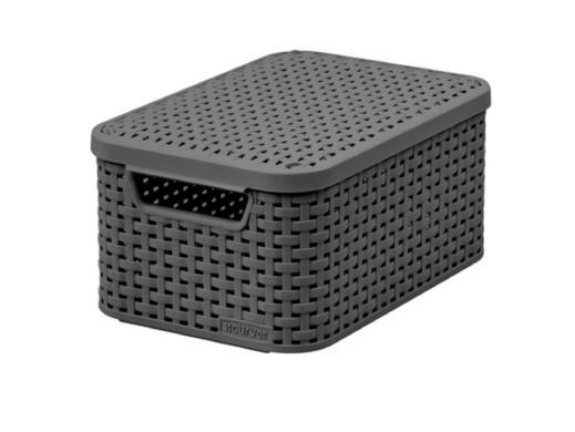 Koszyk z pokrywą Curver Rattan Style S ciemny szar