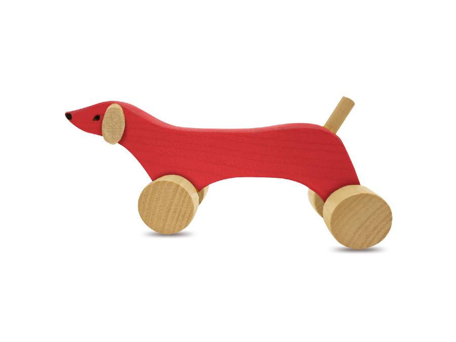 Figurka drewniana jamnik czerwony