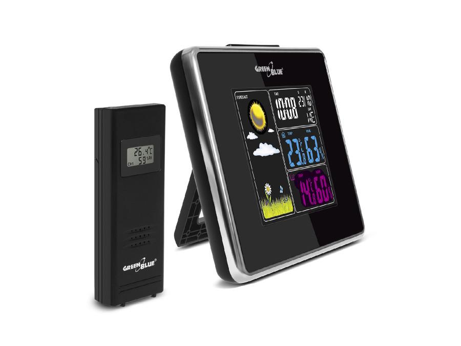 Stacja pogody bezprzewodowa IN/OUT temperatura wilgotność ładowarka USB GreenBlue GB142 black