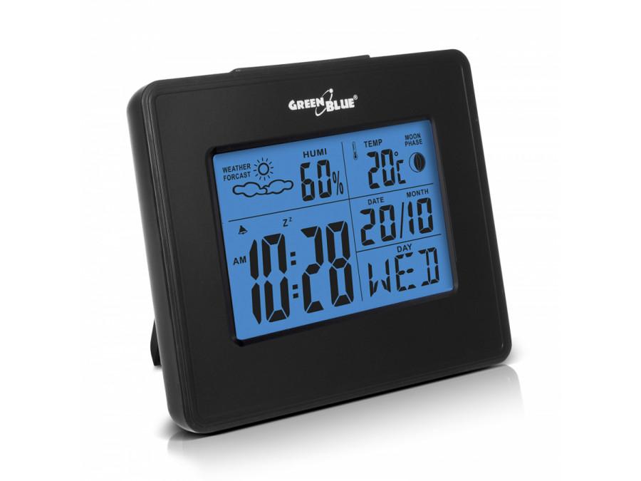 Stacja pogody zegar kalendarz fazy księżyca GreenBlue GB144 black