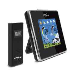 Stacja pogody bezprzewodowa IN/OUT temperatura wilgotność barometr ładowarka USB GreenBlue GB145 black