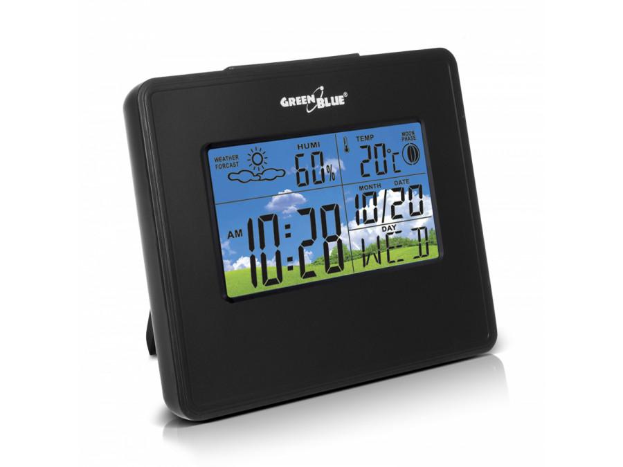 Stacja pogody zegar kalendarz fazy księżyca GreenBlue GB148B black