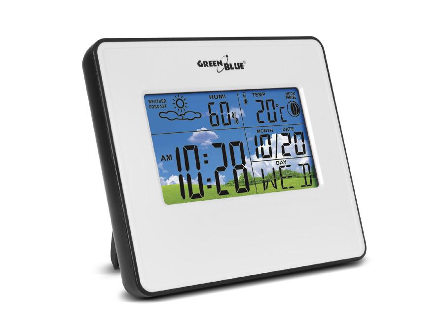 Stacja pogody zegar kalendarz fazy księżyca GreenBlue GB148W white