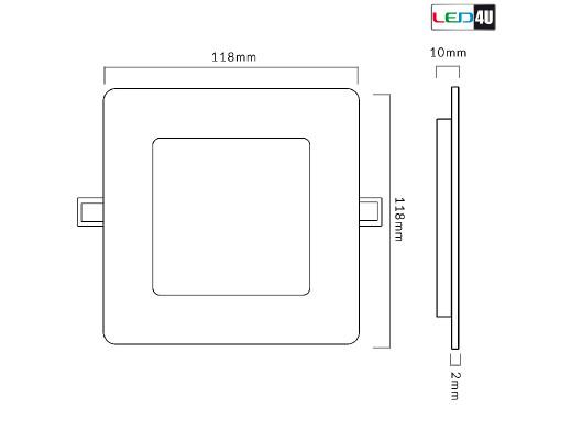 Panel LED sufitowy podtynkowy slim 6W Cold white 5500-6500K Led4U LD152C  120*120*H20mm