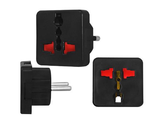 Adapter AC wtyk PL gniazdo uniwersale czarne