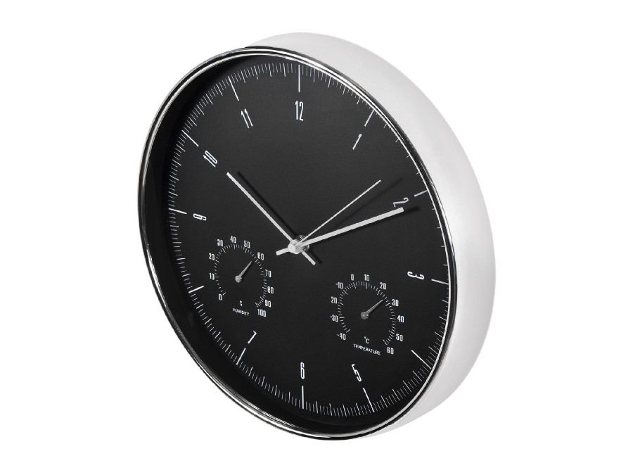 Zegar ścienny srebrny 12''...