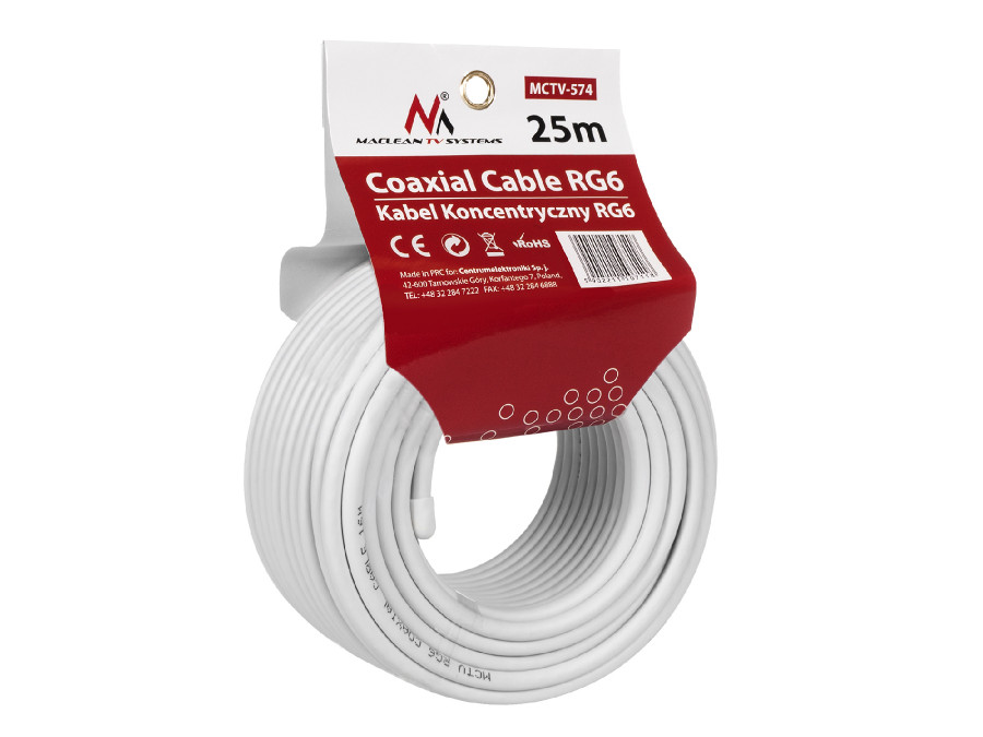 Kabel przewód koncentryczny satelitarny 1.0CCS RG6 25M Maclean  MCTV-574