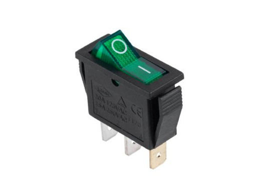 Przełącznik kołyskowy podświetlany 2 pozycje 3pin zielony 230V IRS-101