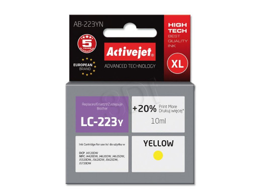 Tusz Brother LC223 AB-223Y Yellow 10ml ACJ