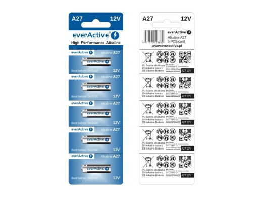 5x baterie alkaliczne everActive 23A 12V