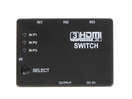 Sumator gniazdo HDMI 3 gniazda HDMI z pilotem