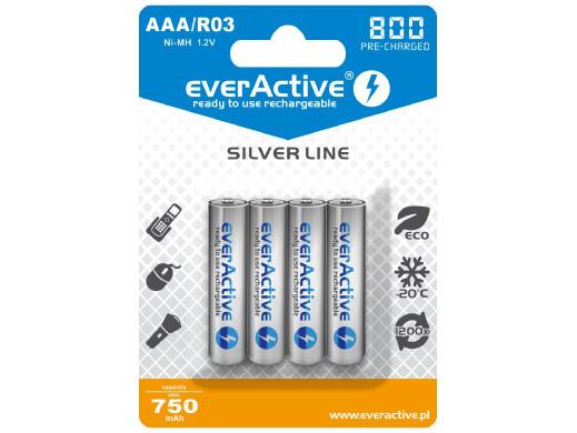 4x akumulatorki R-03 AAA 800mAh everActive