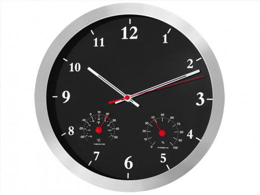 Zegar ścienny czarny 14'' z termometrem i higrometrem CE40B POSERWISOWY - Ślady użytkowania