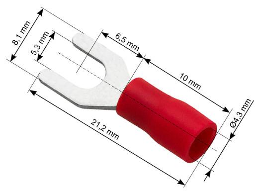 Konektor widełki izolowany S śruba 5,3 kabel 4,3 czerwony