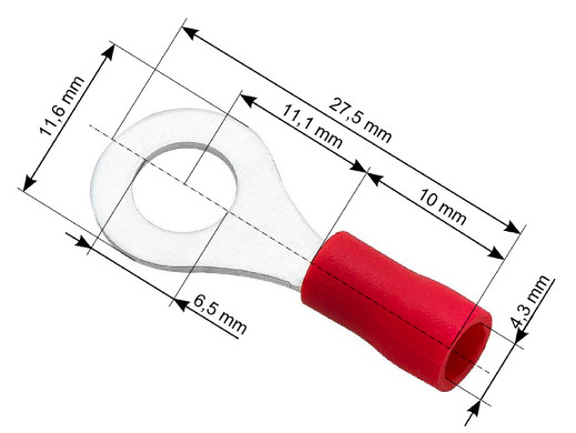 Konektor oczko izolowany śruba 6,5 kabel 4,3mm czerwony