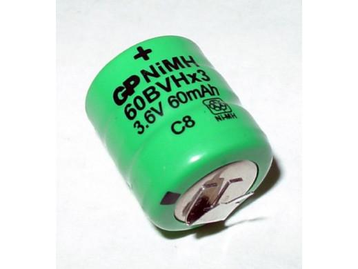 Akumulator 3,6V 60mAh 60bvhx3 2 odczepy GP
