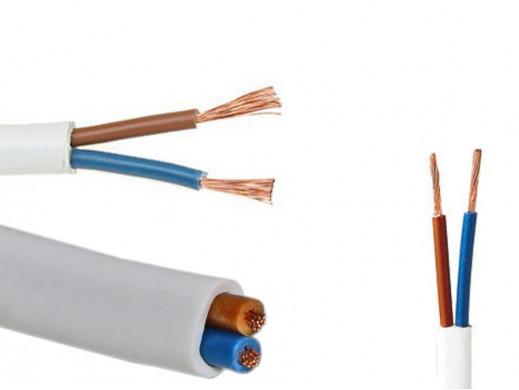 Kabel prądowy 2*0,5mm OMYp NAP 300/300V płaski  biały