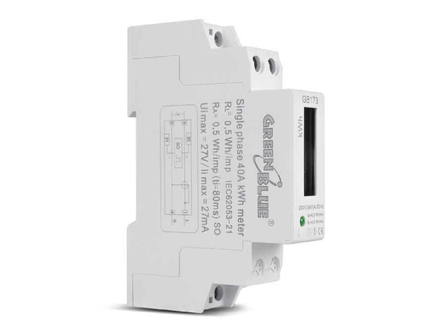 Licznik energii watomierz na szynę DIN wyświetlacz LCD GreenBlue GB173