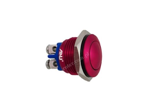 Przełącznik chwilowy 16mm zwierny okrągły wypukły na śrubki 16A 2A 250V czerwony IP67