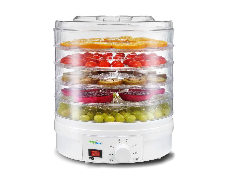Suszarka do grzybów, warzyw i owoców GreenBlue, moc 250W - bardzo cicha, wysokie sito 3,5cm, szeroka 32cm, GB190