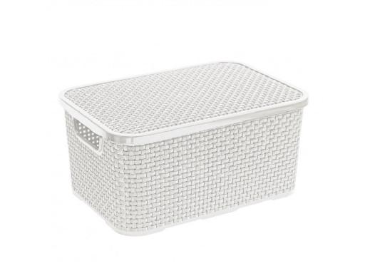Koszyk rattanowy z pokrywą 10L biały