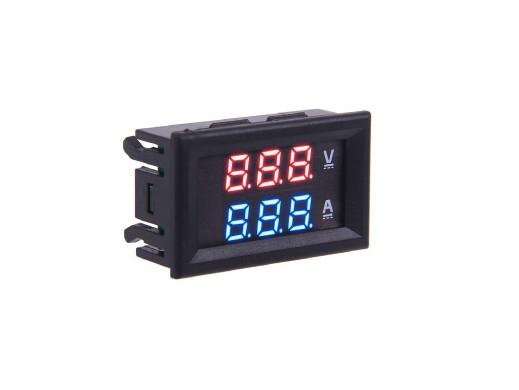 Panelowy woltomierz amperomierz 10A LED czerwono-niebieski od 0-99,9V zasilanie 12V