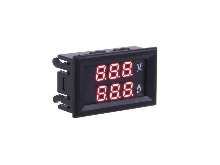 Panelowy woltomierz amperomierz 50A LED czerwony od 0-99,9V