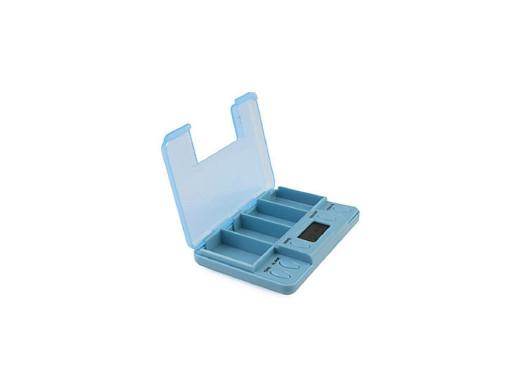 Elektroniczny pojemnik na tabletki, 4 alarmy blue