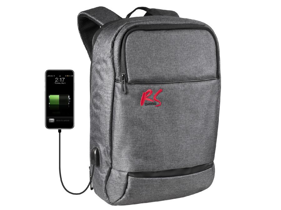 Plecak antykradzieżowy, laptop 15,6 tablet, port USB do ładowania telefonu - NanoRS RS915 S szary